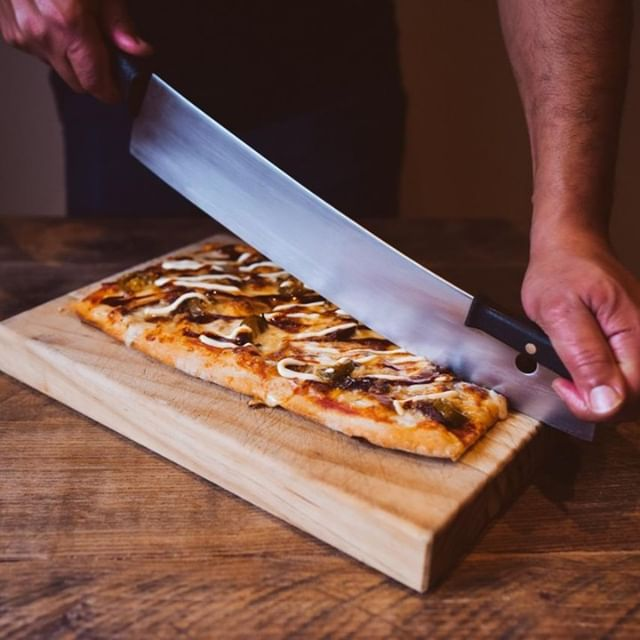 You know what they say, a pizza this good deserves to be cut with an equally epic knife  No one says